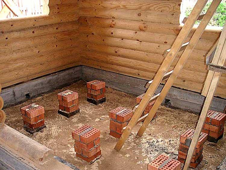 Опорные столбы для деревянного пола